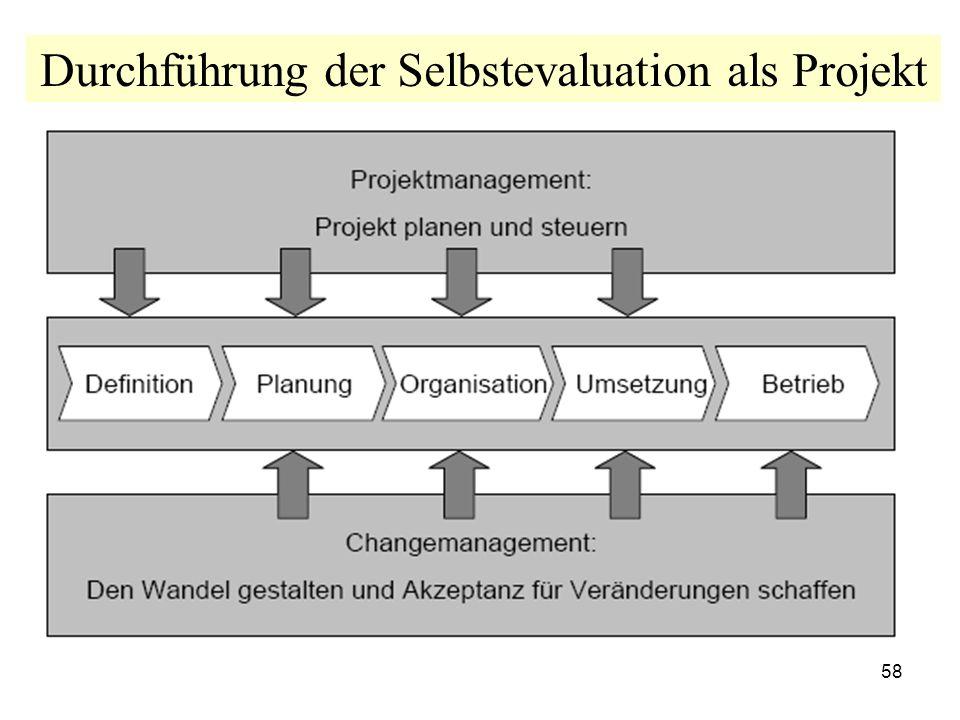 Durchführung der Selbstevaluation als Projekt