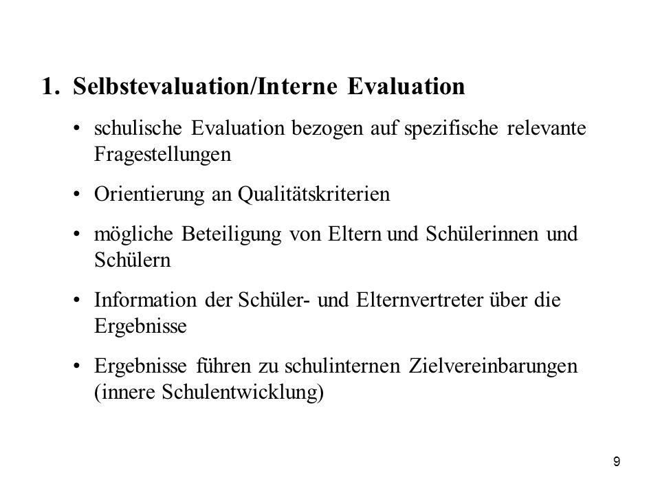 Selbstevaluation/Interne Evaluation
