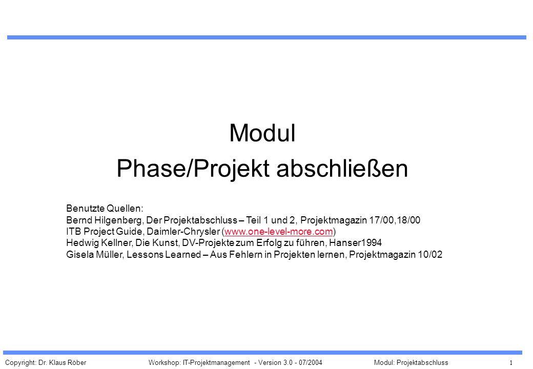 Phase/Projekt abschließen