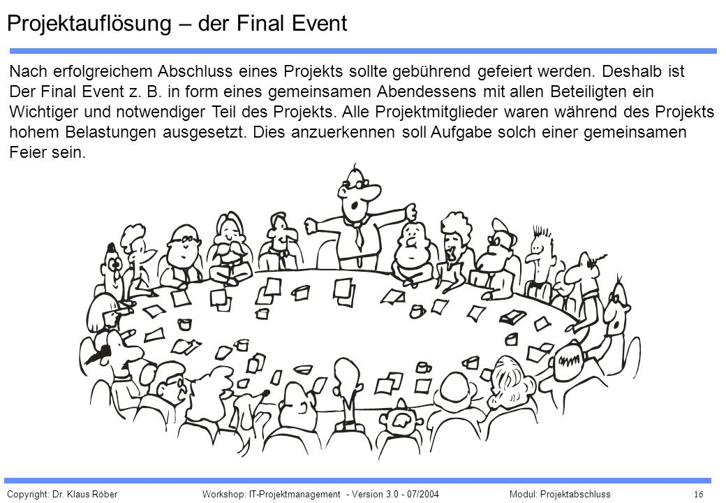 Projektauflösung – der Final Event