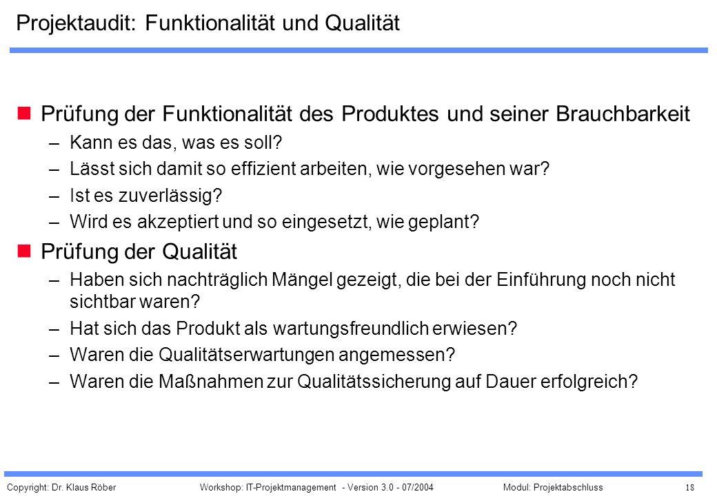 Projektaudit: Funktionalität und Qualität