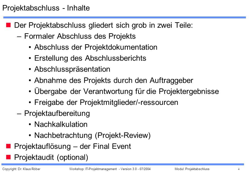 Projektabschluss - Inhalte