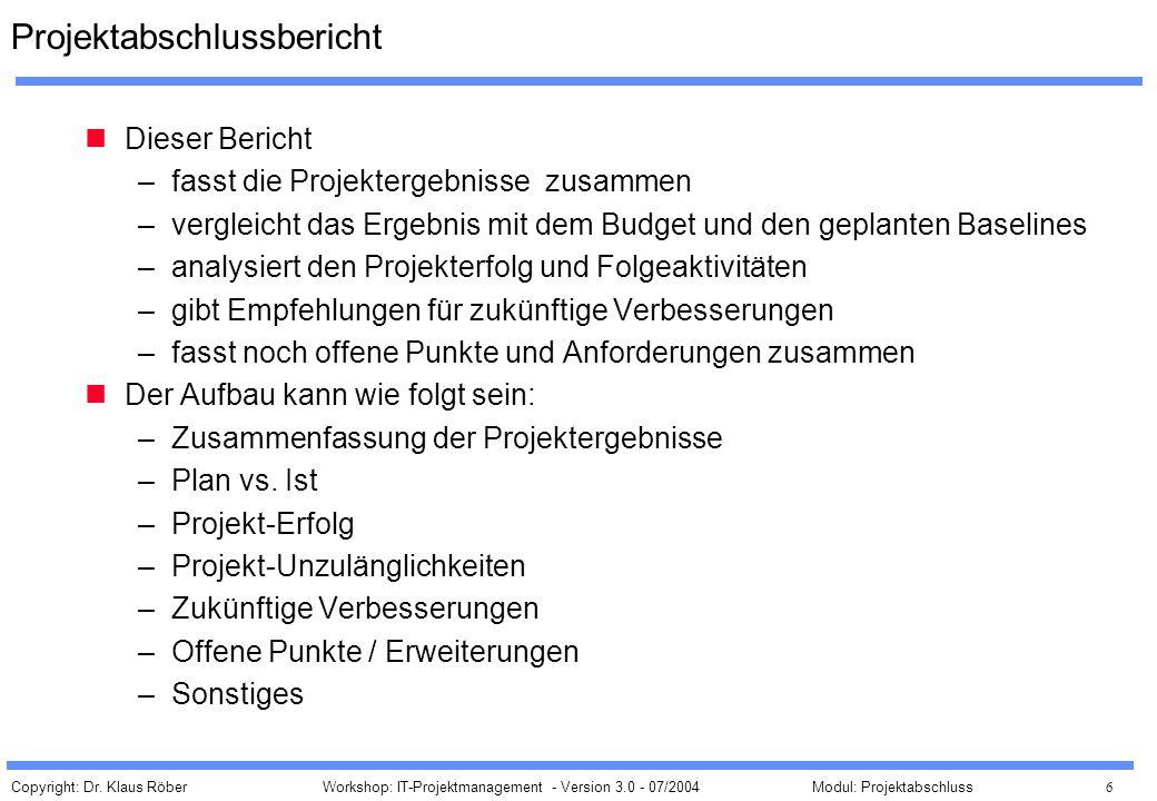 Projektabschlussbericht