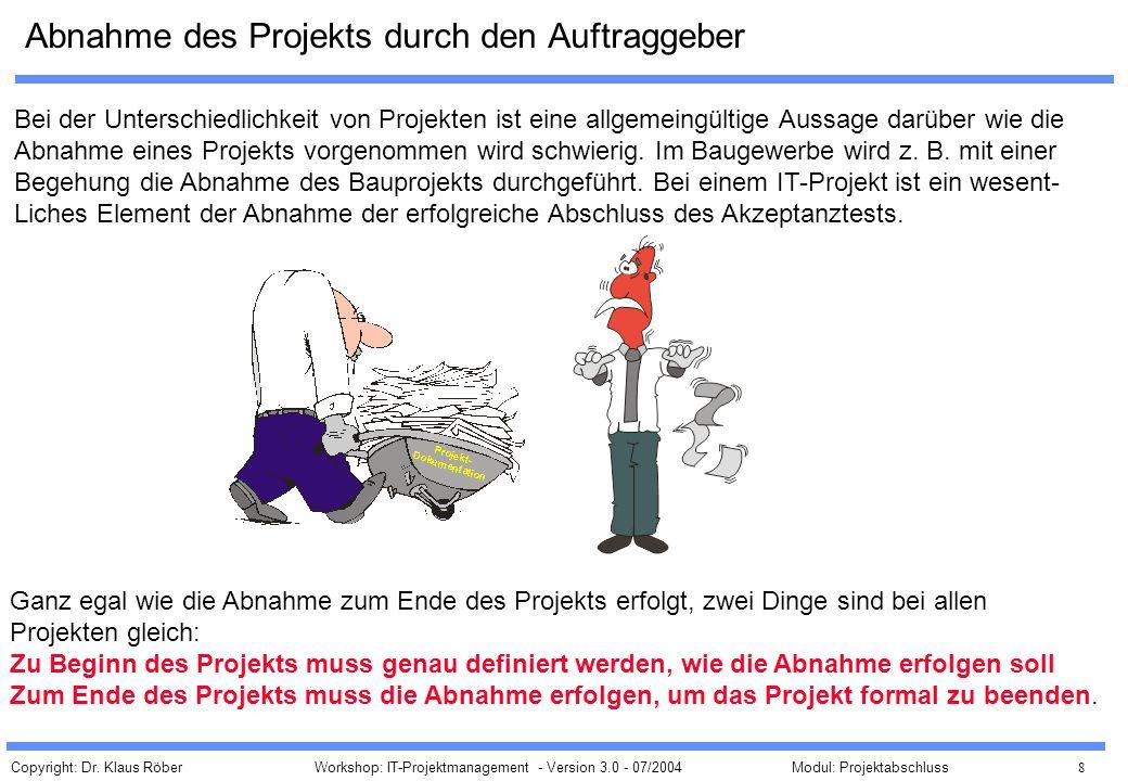 Abnahme des Projekts durch den Auftraggeber