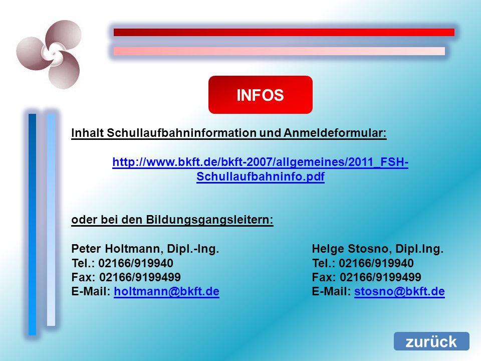 INFOS zurück Inhalt Schullaufbahninformation und Anmeldeformular: