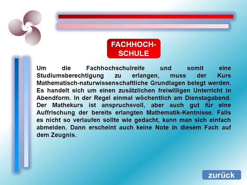 zurück FACHHOCH-SCHULE