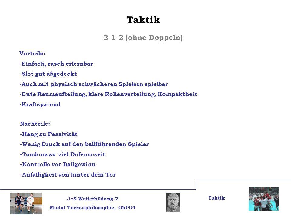 Taktik 2-1-2 (ohne Doppeln) Vorteile: -Einfach, rasch erlernbar