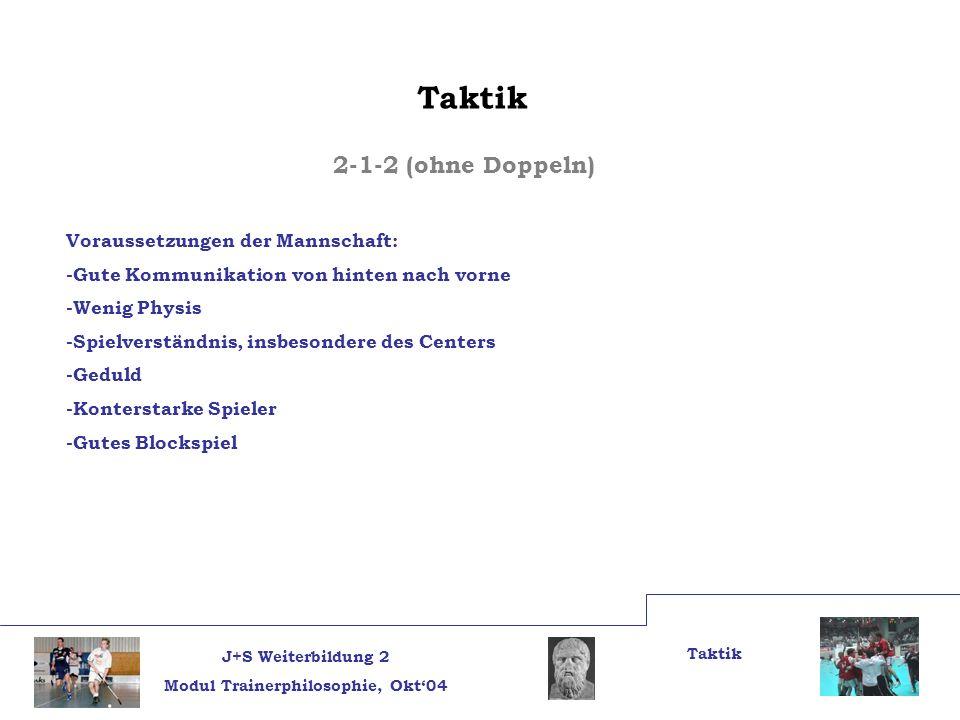 Taktik 2-1-2 (ohne Doppeln) Voraussetzungen der Mannschaft: