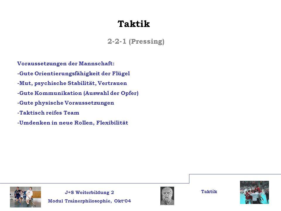 Taktik 2-2-1 (Pressing) Voraussetzungen der Mannschaft: