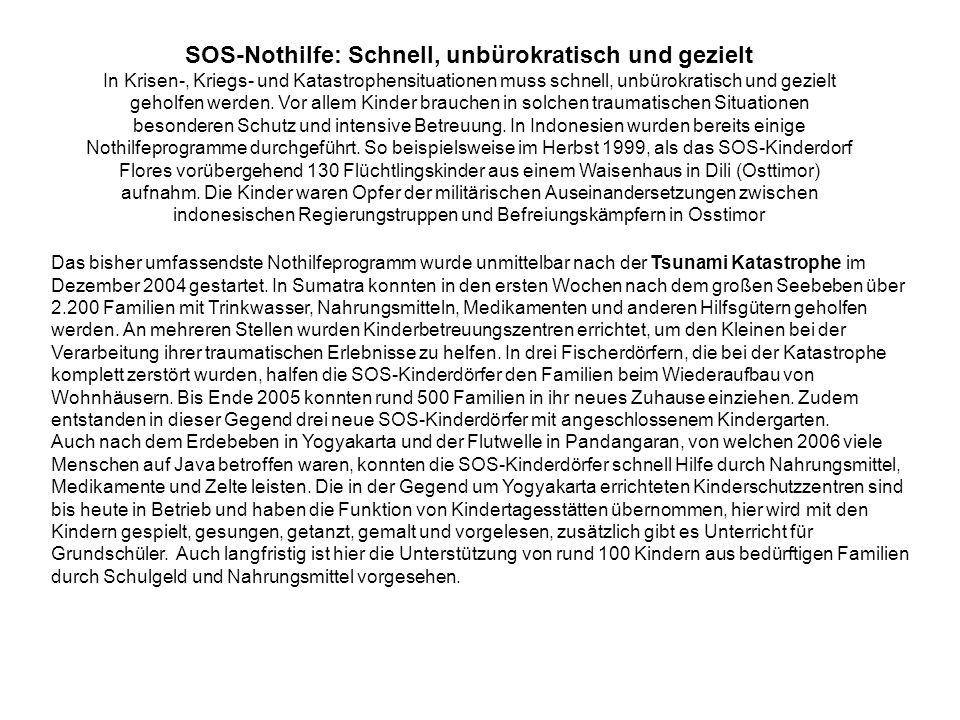 SOS-Nothilfe: Schnell, unbürokratisch und gezielt