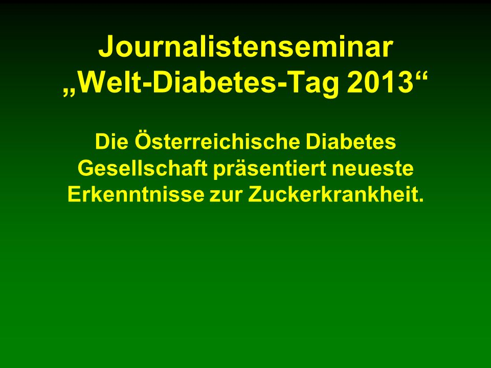 "Journalistenseminar ""Welt-Diabetes-Tag 2013"