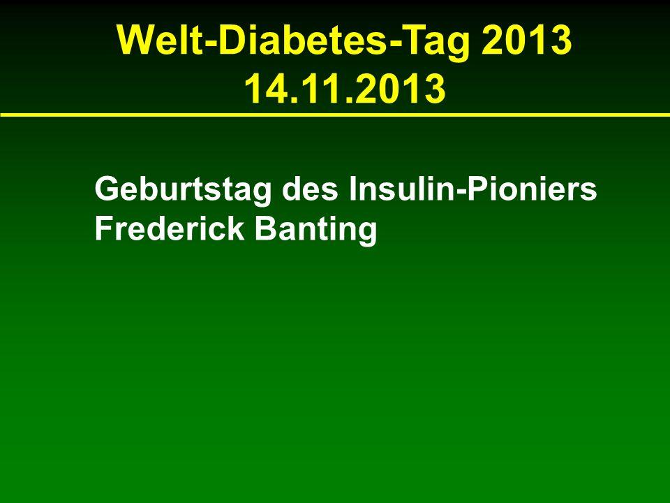 Welt-Diabetes-Tag 2013 14.11.2013 Geburtstag des Insulin-Pioniers