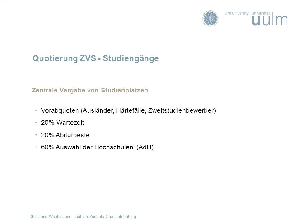 Quotierung ZVS - Studiengänge