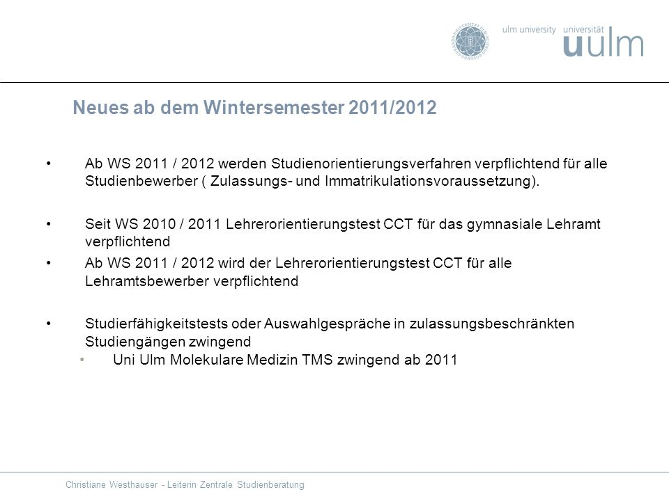 Neues ab dem Wintersemester 2011/2012