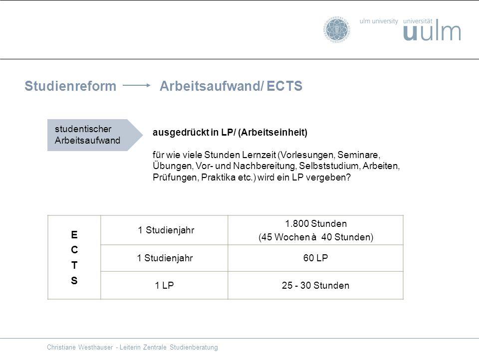 Studienreform Arbeitsaufwand/ ECTS