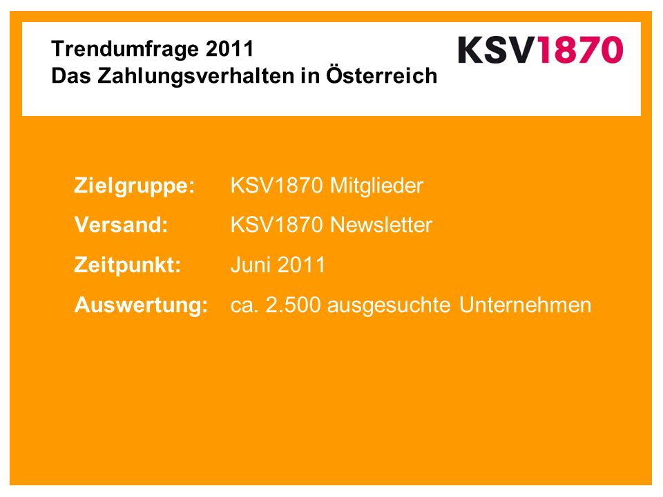 Trendumfrage 2011 Das Zahlungsverhalten in Österreich