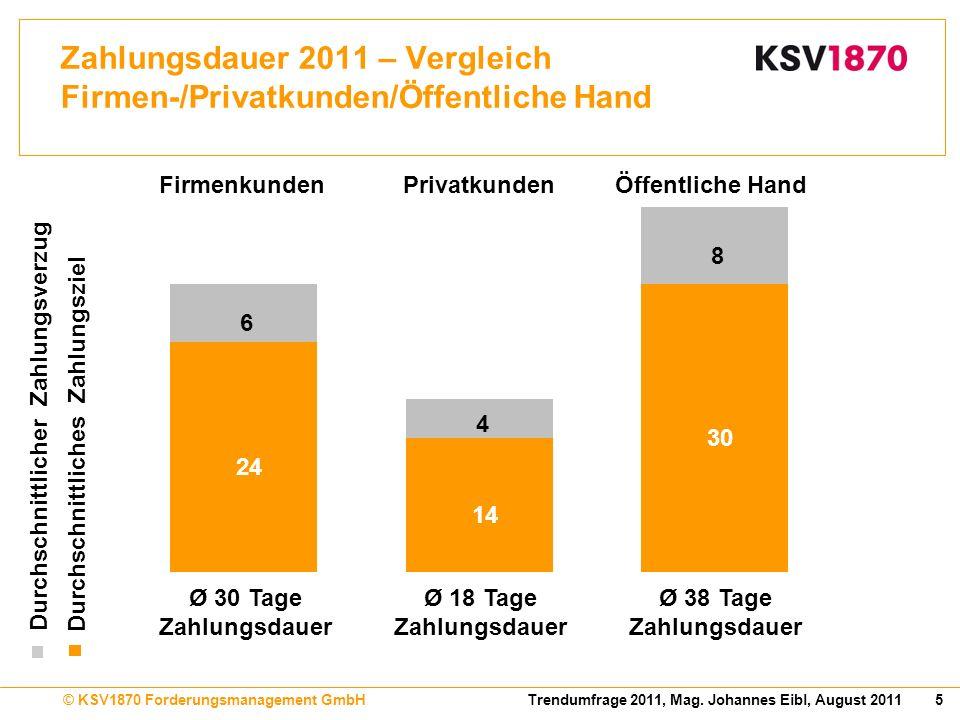 Zahlungsdauer 2011 – Vergleich Firmen-/Privatkunden/Öffentliche Hand
