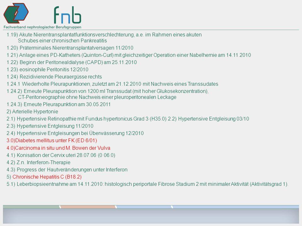 1. 19) Akute Nierentransplantatfunktionsverschlechterung, a. e