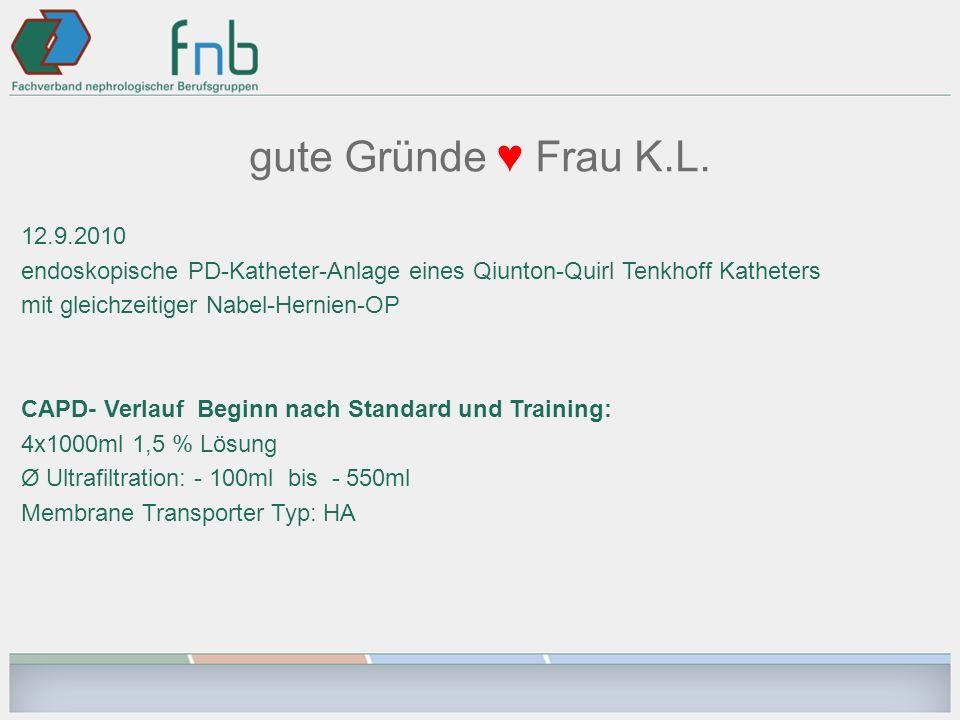gute Gründe ♥ Frau K.L. 12.9.2010. endoskopische PD-Katheter-Anlage eines Qiunton-Quirl Tenkhoff Katheters.