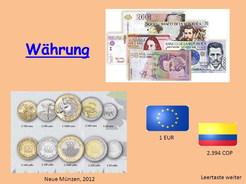 Währung 1 EUR 2.394 COP Leertaste weiter Neue Münzen, 2012
