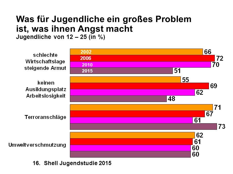 Was für Jugendliche ein großes Problem ist, was ihnen Angst macht Jugendliche von 12 – 25 (in %)
