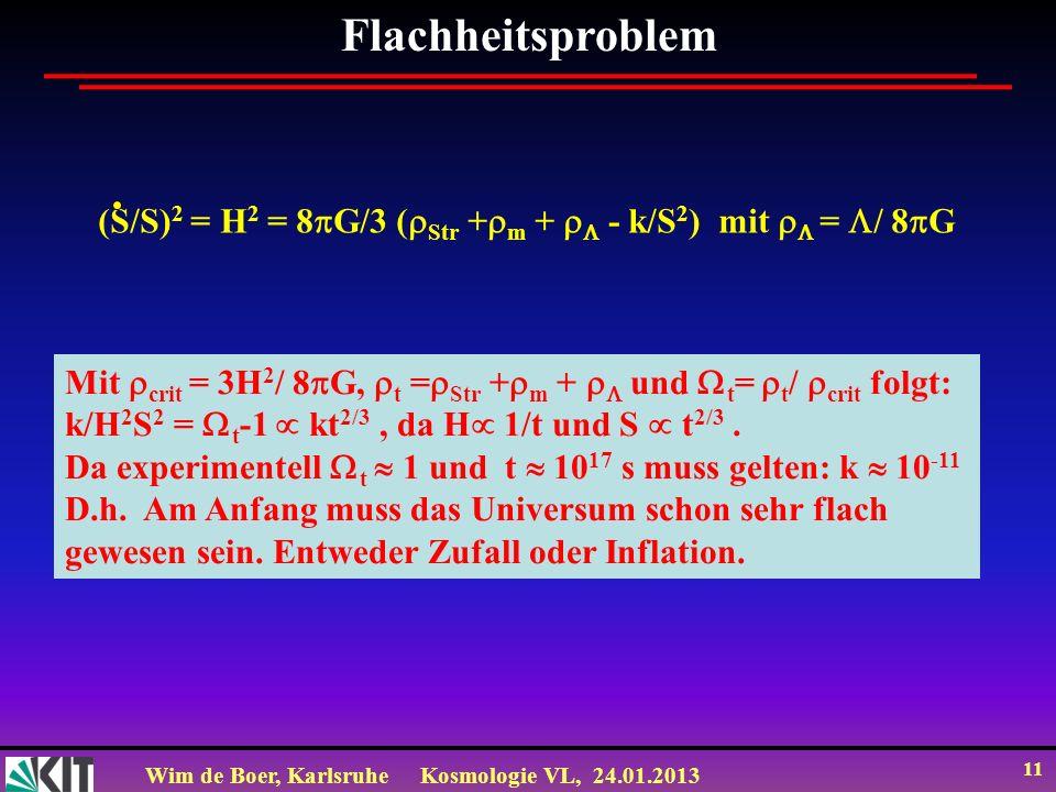 Flachheitsproblem (S/S)2 = H2 = 8G/3 (Str +m +  - k/S2) mit  = / 8G. Mit crit = 3H2/ 8G, t =Str +m +  und t= t/ crit folgt: