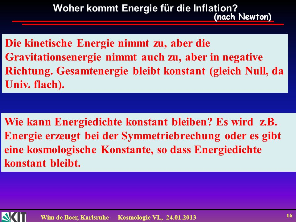 Woher kommt Energie für die Inflation