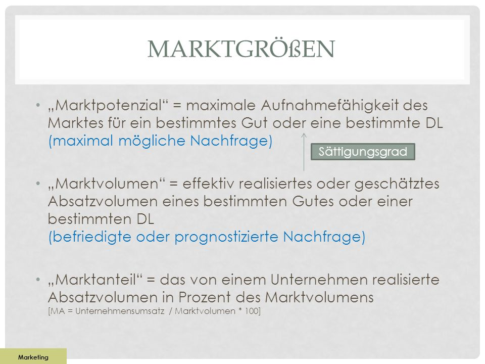 """Marktgrößen """"Marktpotenzial = maximale Aufnahmefähigkeit des Marktes für ein bestimmtes Gut oder eine bestimmte DL (maximal mögliche Nachfrage)"""