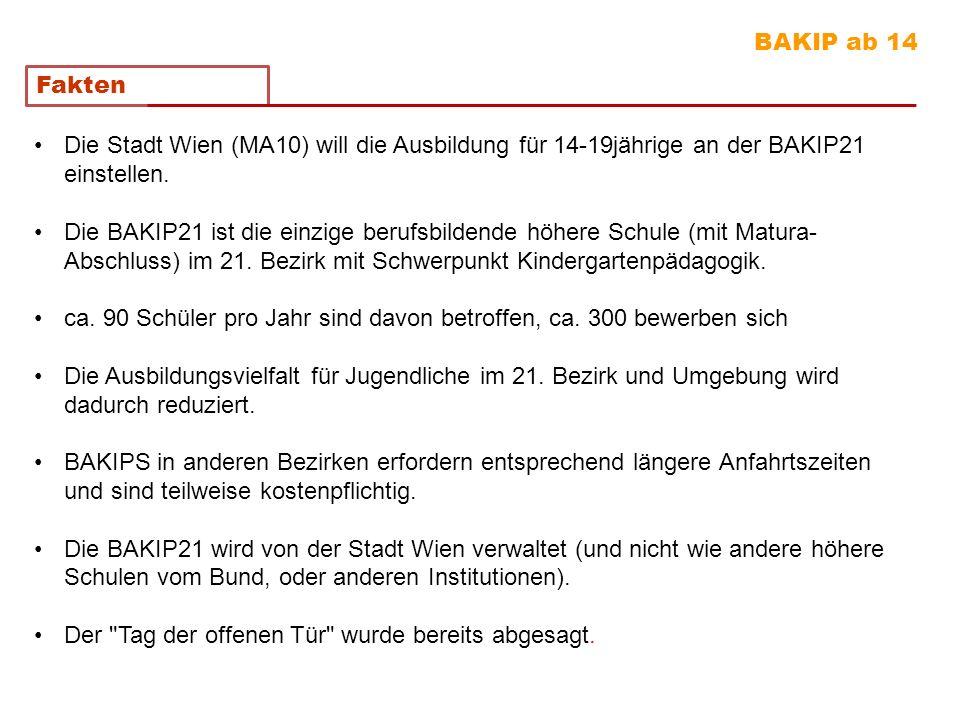 BAKIP ab 14 Fakten. Die Stadt Wien (MA10) will die Ausbildung für 14-19jährige an der BAKIP21 einstellen.