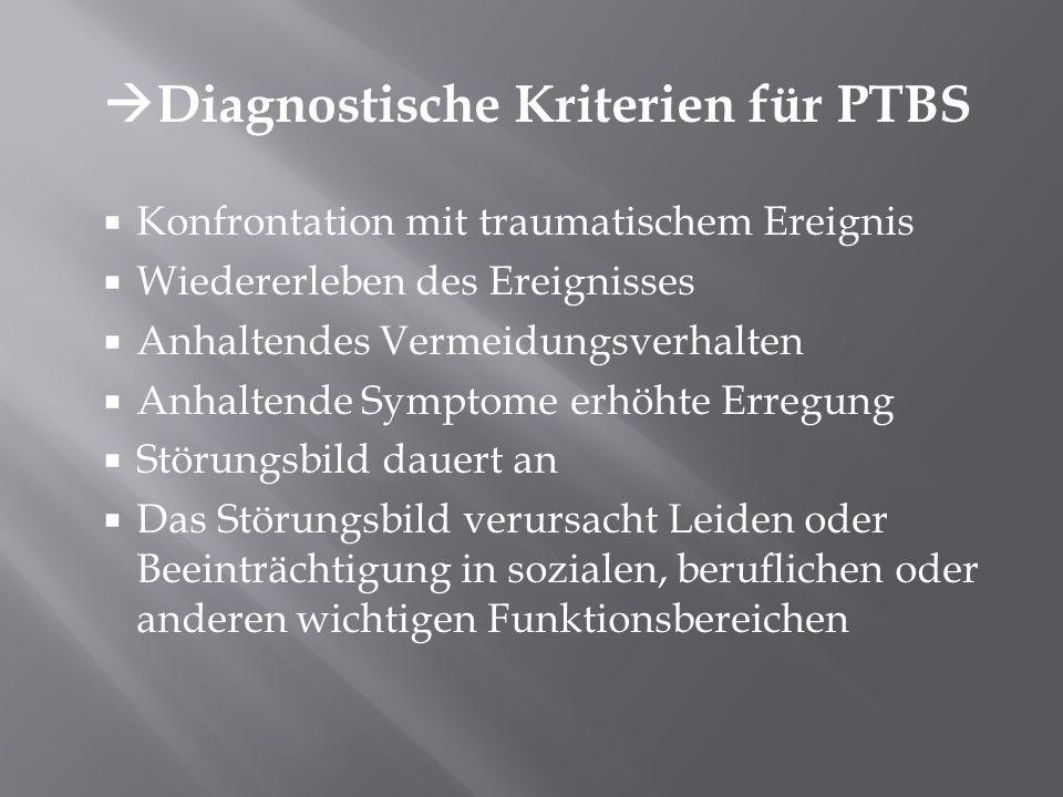 Diagnostische Kriterien für PTBS