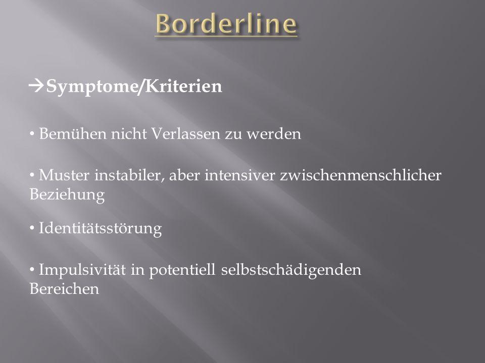 Borderline Symptome/Kriterien Bemühen nicht Verlassen zu werden