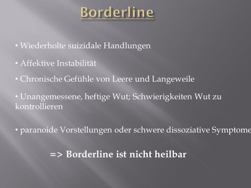 Borderline => Borderline ist nicht heilbar