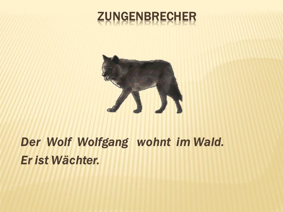 Zungenbrecher Der Wolf Wolfgang wohnt im Wald. Er ist Wächter.