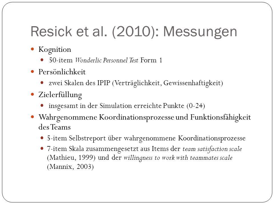 Resick et al. (2010): Messungen