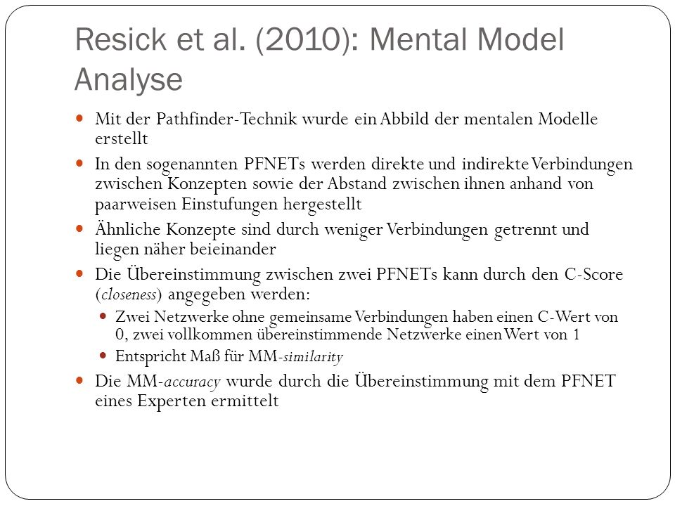Resick et al. (2010): Mental Model Analyse