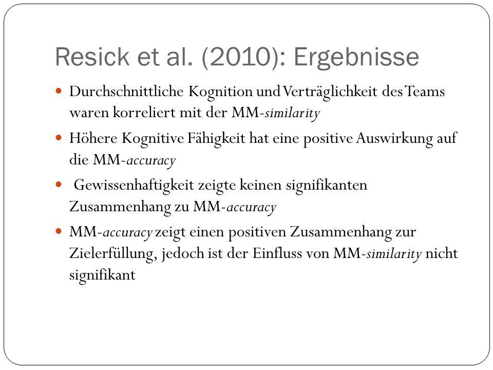 Resick et al. (2010): Ergebnisse