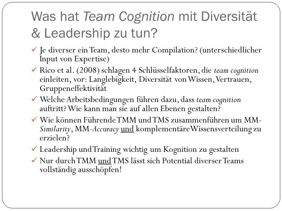 Was hat Team Cognition mit Diversität & Leadership zu tun