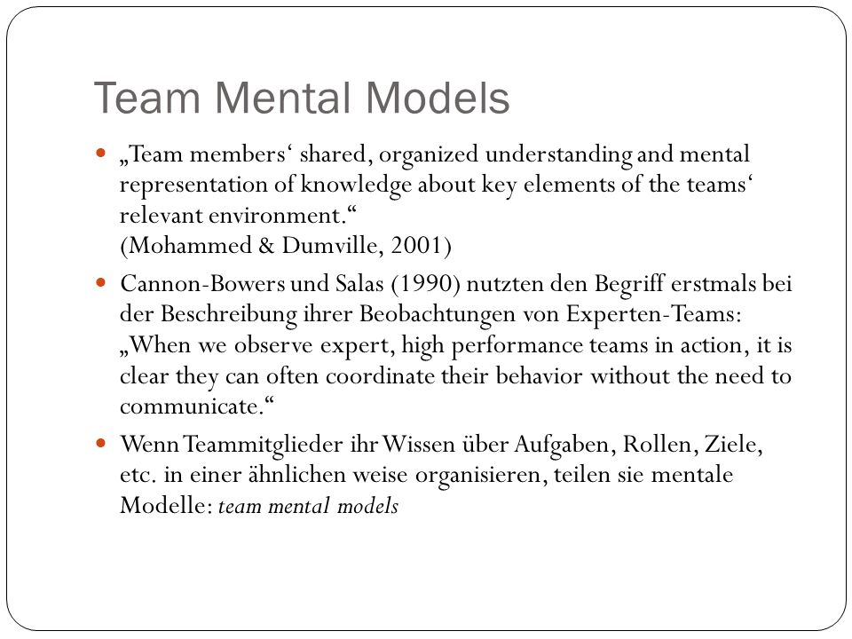Team Mental Models