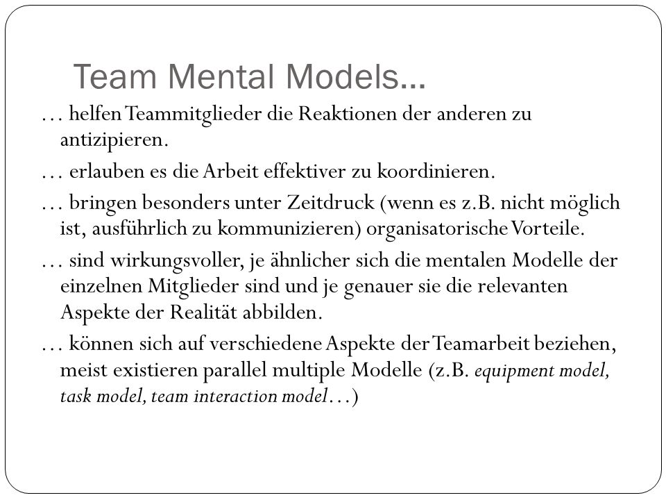 Team Mental Models…