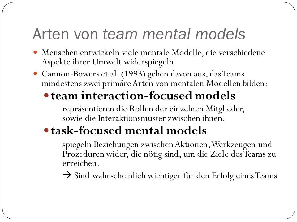 Arten von team mental models