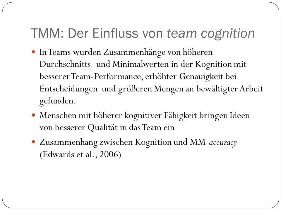 TMM: Der Einfluss von team cognition