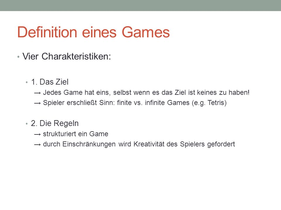 Definition eines Games