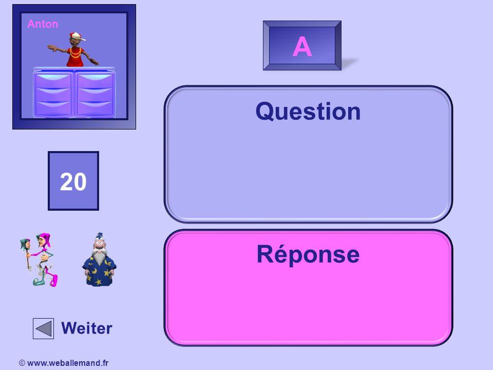 AntonA. Question. 15. 14. 13. 16. 18. 20. 19. 11. 17. 12. 10. 2. 1. 4. 3. 5. 9. 8. 7. 6. Réponse. Indice.
