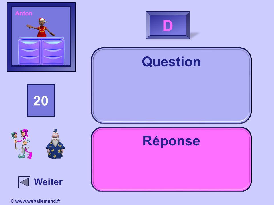 AntonD. Question. 15. 14. 13. 16. 18. 20. 19. 11. 17. 12. 10. 2. 1. 4. 3. 5. 9. 8. 7. 6. Réponse. Indice.
