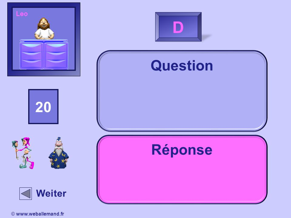 LeoD. Question. 15. 14. 13. 16. 18. 20. 19. 11. 17. 12. 10. 2. 1. 4. 3. 5. 9. 8. 7. 6. Réponse. Indice.