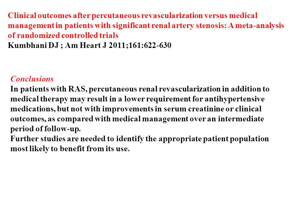 Clinical outcomes after percutaneous revascularization versus medical management in patients with significant renal artery stenosis: A meta-analysis of randomized controlled trials