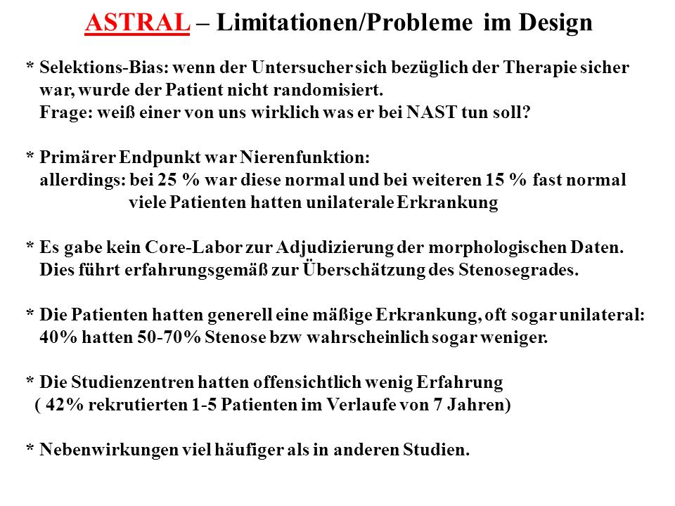 ASTRAL – Limitationen/Probleme im Design