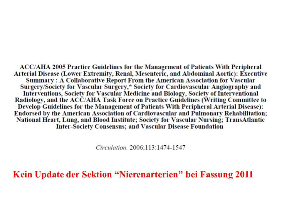 Kein Update der Sektion Nierenarterien bei Fassung 2011