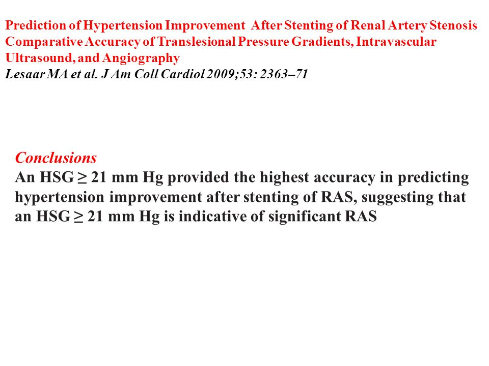 Prediction of Hypertension Improvement After Stenting of Renal Artery Stenosis