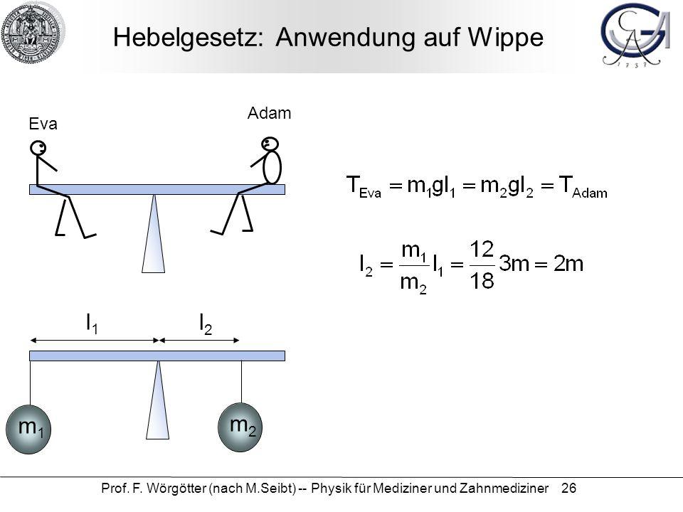 Hebelgesetz: Anwendung auf Wippe